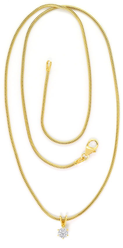 Foto 3 - Brillant Kollier 0,27ct Solitär Schlangenkette 18K Gold, R4155