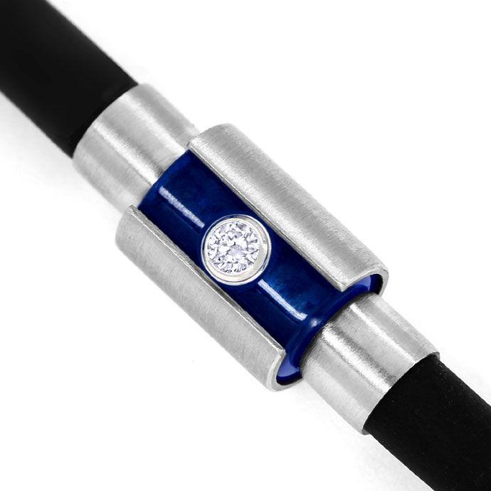 Foto 2 - Bunz Kautschuk Platin Brillant Armband und blauer Safir, R4217