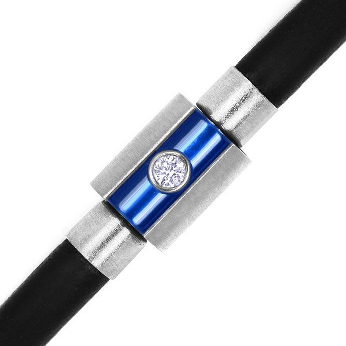 Foto 2 - Bunz Armband in Kautschuk und Silber Brillant und Safir, R4218