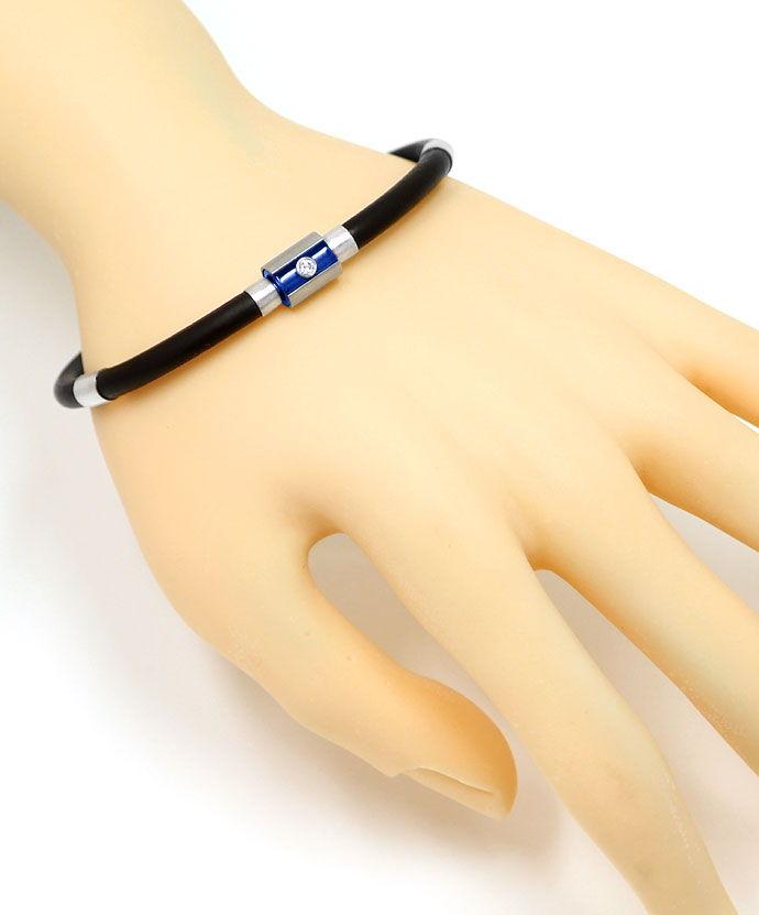 Foto 5 - Bunz Armband in Kautschuk und Silber Brillant und Safir, R4218