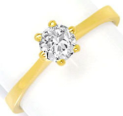 Foto 1, Brilliant-Krappen-Diamant-Ring 0,45ct H SI 18K Gelbgold, R4281