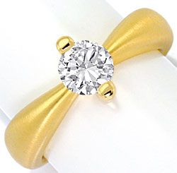 Foto 1, Brilliant Designer Ring 0,76ct H SI1, 18K Gelb Gold Neu, R4282