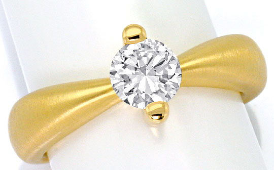 Foto 2, Brilliant Designer Ring 0,76ct H SI1, 18K Gelb Gold Neu, R4282