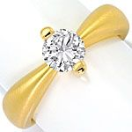 Brilliant Designer Ring 0,76ct H SI1, 18K Gelb Gold Neu