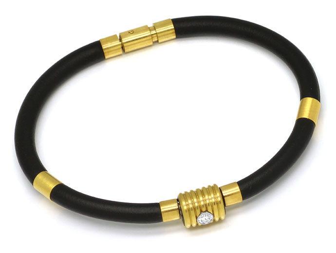 Foto 1 - Bunz Kautschuk Gelbgold Armband mit 0,10 River Brillant, R4288