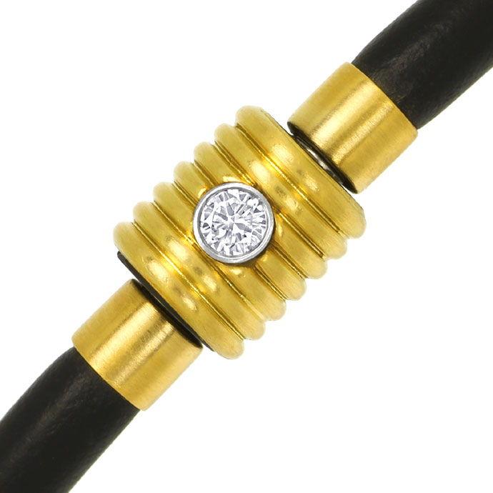 Foto 2 - Bunz Kautschuk Gelbgold Armband mit 0,10 River Brillant, R4288