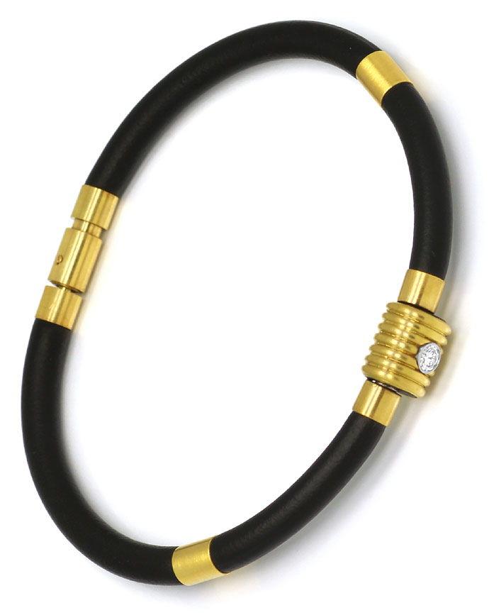 Foto 4 - Bunz Kautschuk Gelbgold Armband mit 0,10 River Brillant, R4288