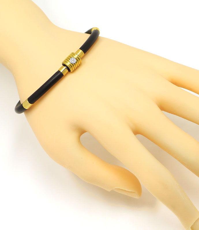 Foto 5 - Bunz Kautschuk Gelbgold Armband mit 0,10 River Brillant, R4288