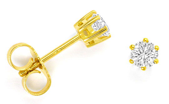Foto 1, Diamant Solitär Ohrringe 0,43ct Brillant Ohrstecker 18K, R4291