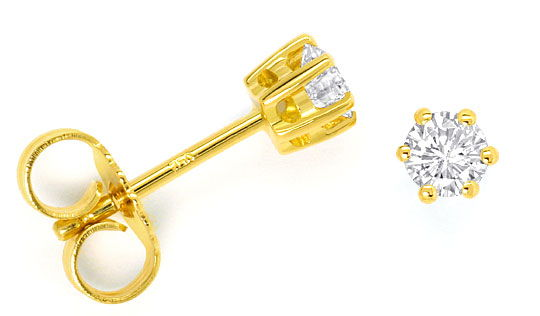 Foto 1 - Diamant Solitär Ohrringe 0,34ct Brillant Ohrstecker 18K, R4293