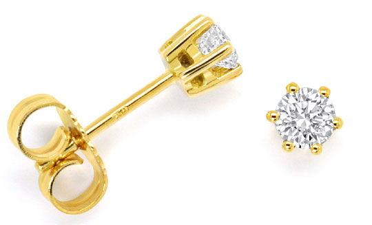 Foto 1 - Diamant Solitär Ohrringe 0,38ct Brillant Ohrstecker 18K, R4294