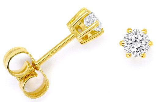 Foto 1 - Diamant Solitär Ohrringe 0,40ct Brillant Ohrstecker 18K, R4295