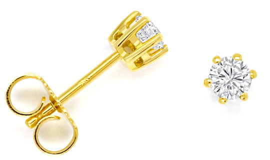Foto 1, Diamant Solitär Ohrringe 0,38ct Brillant Ohrstecker 18K, R4296