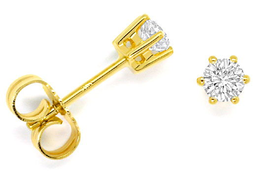 Foto 1 - Diamant Solitär Ohrringe 0,40ct Brillant Ohrstecker 18K, R4299