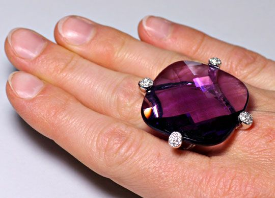 Foto 1, 55ct Amethyst Sensations-Brillianten-Ring 18K Weissgold, R4351