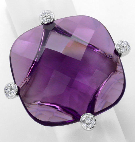 Foto 2, 55ct Amethyst Sensations Brillianten Ring 18K Weissgold, R4351