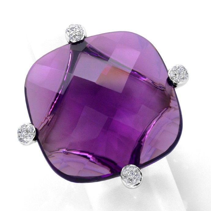 55ct Amethyst Sensations Brillianten Ring 18K Weissgold, Edelstein Farbstein Ring