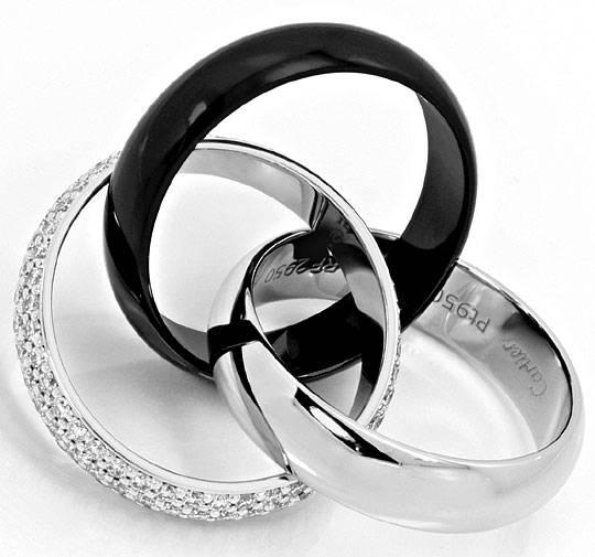 Cartier Trinity Ring Diamanten Weissgold Platin Keramik R4442