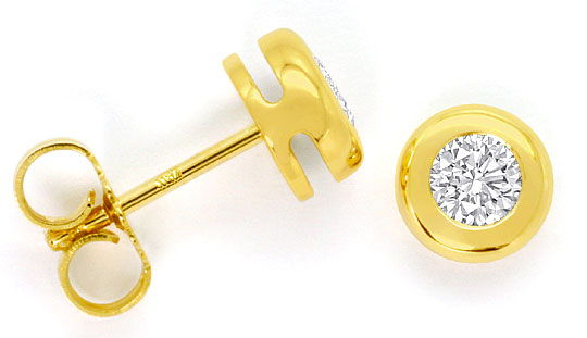 Foto 1, Diamantohrringe Brillant-Ohrstecker 0,42ct 18K Gelbgold, R4512