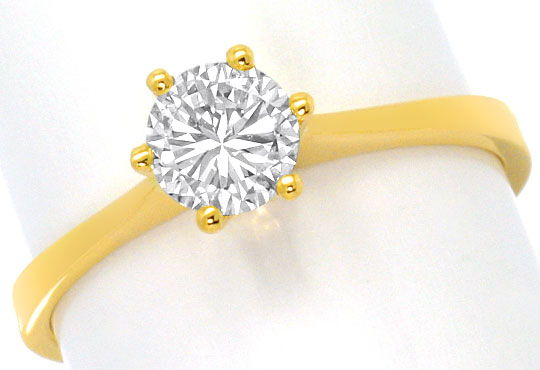 Foto 2 - Brillant Solitär Ring 0,60ct Top Wesselton 18K Gelbgold, R4568