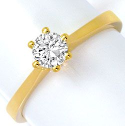 Foto 1, Brillant-Krappen-Gold-Ring Solitär 0,39ct Top Wesselton, R4606
