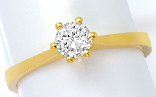 Foto 2, Brillant-Krappen-Gold-Ring Solitär 0,39ct Top Wesselton, R4606