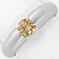 Foto 1, Weissgold-Spannring mit Brillant 0,71ct Fancy Goldbraun, R4739