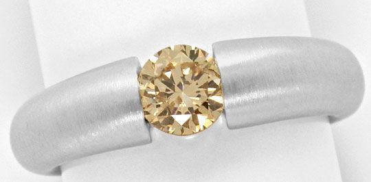 Foto 2, Weissgold Spannring mit Brillant 0,71ct Fancy Goldbraun, R4739