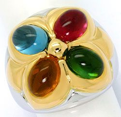 Foto 1, Bulgari Ring Petalo Colour Gemstones Gelbgold Weissgold, R4788