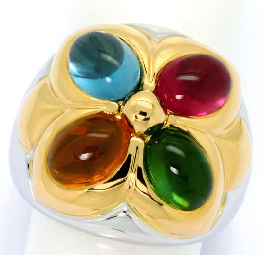 Foto 2, Bulgari Ring Petalo Colour Gemstones Gelbgold Weissgold, R4788