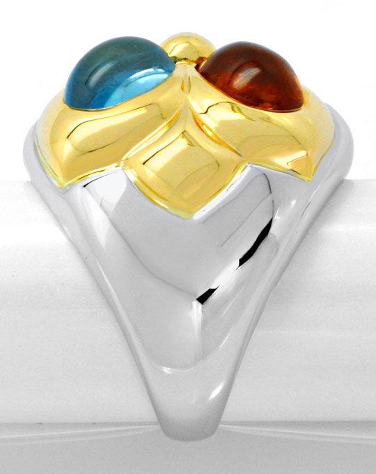 Foto 4, Bulgari Ring Petalo Colour Gemstones Gelbgold Weissgold, R4788