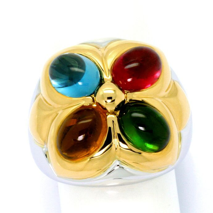 Bulgari Ring Petalo Colour Gemstones Gelbgold Weissgold, Edelstein Farbstein Ring