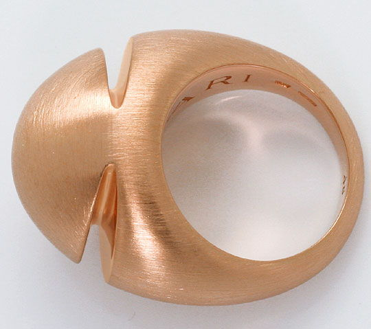 Foto 4, Original Bulgari Cabochon Pink Gold Ring Satiniert, 18K, R4789