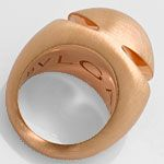 Original Bulgari Cabochon Pink Gold Ring Satiniert, 18K