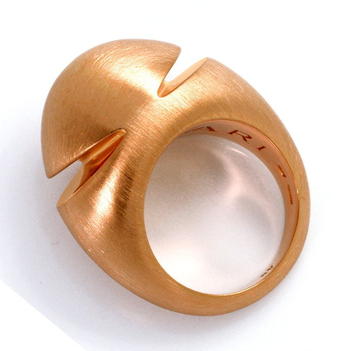 Original Bulgari Cabochon Pink Gold Ring Satiniert, 18K, Solitär Diamantring Brillantring