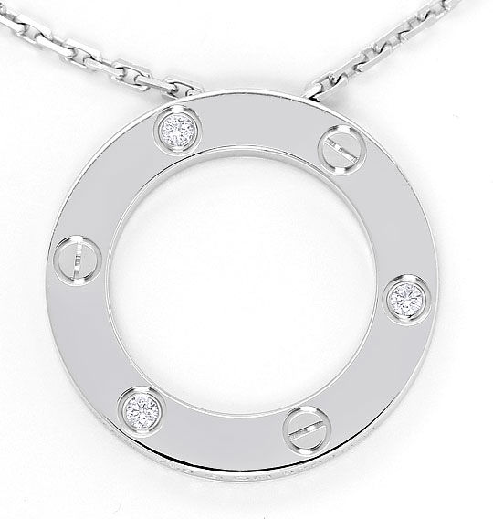 Foto 2, Original Cartier Love Collier mit Brillianten Weissgold, R4845