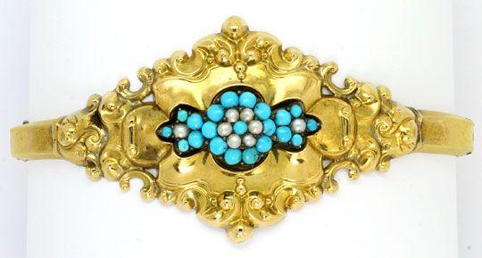 Foto 1 - Original Biedermeier Schaum Gold Armreif Türkise Perlen, R4847