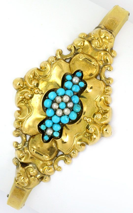 Foto 2 - Original Biedermeier Schaum Gold Armreif Türkise Perlen, R4847