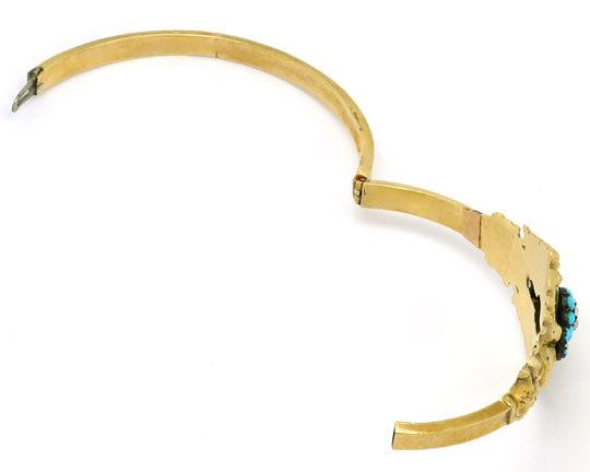 Foto 3 - Original Biedermeier Schaum Gold Armreif Türkise Perlen, R4847