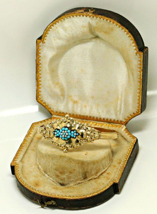 Foto 4 - Original Biedermeier Schaum Gold Armreif Türkise Perlen, R4847