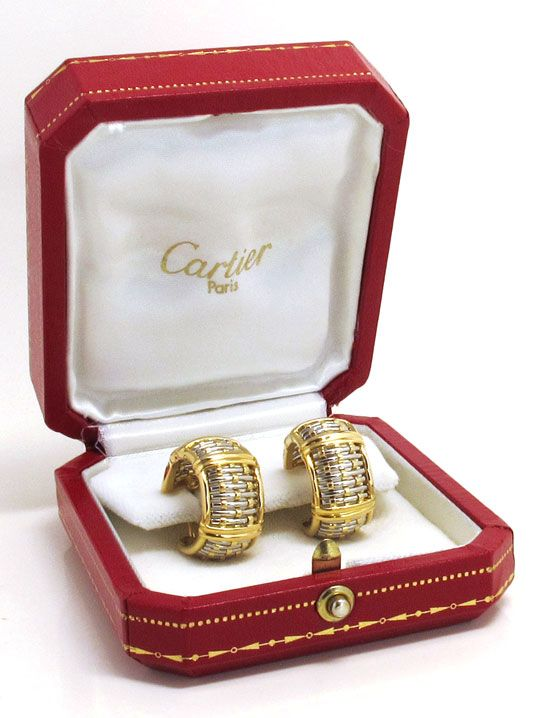 Foto 4, Original Cartier Ohrringe Vision Brillianten Stahl Gold, R5155