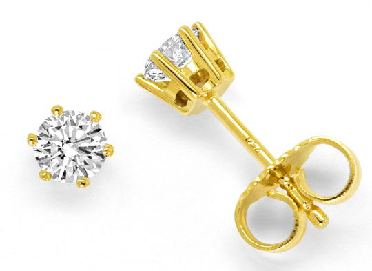 Foto 1, Diamant-Ohrstecker 0,52ct Brillianten Ohrringe Gelbgold, R5290