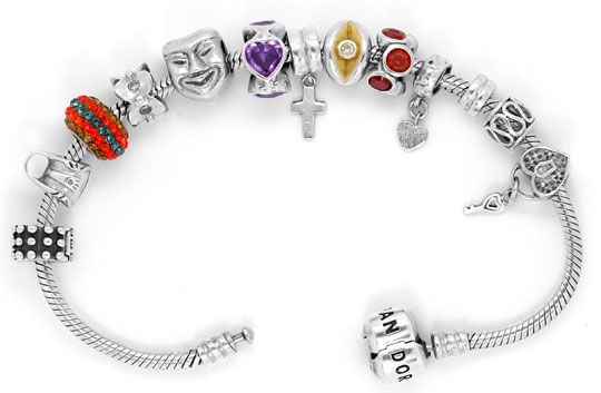 Foto 1, Pandora Armband 925 Sterling Silber mit 13 Charms Clips, R5303