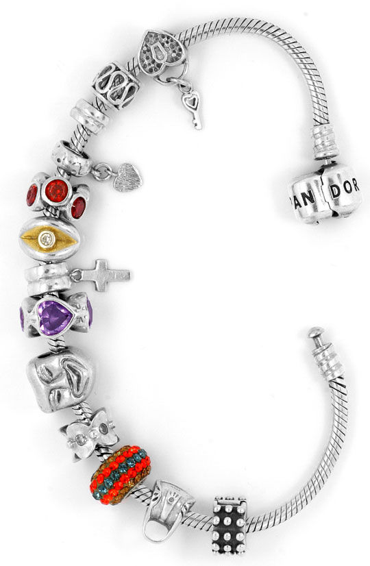 Foto 2, Pandora Armband 925 Sterling Silber mit 13 Charms Clips, R5303