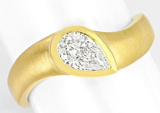 Foto 2, Diamant-Tropfen 0,554ct massiver 18K Designer-Gold-Ring, R5481