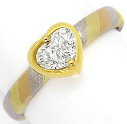 Foto 1 - Designer Gold Ring 0,80ct Tropfen Diamant in Herz Zarge, R5484