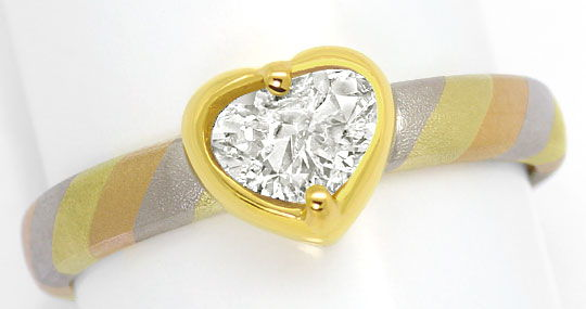 Foto 2 - Designer Gold Ring 0,80ct Tropfen Diamant in Herz Zarge, R5484