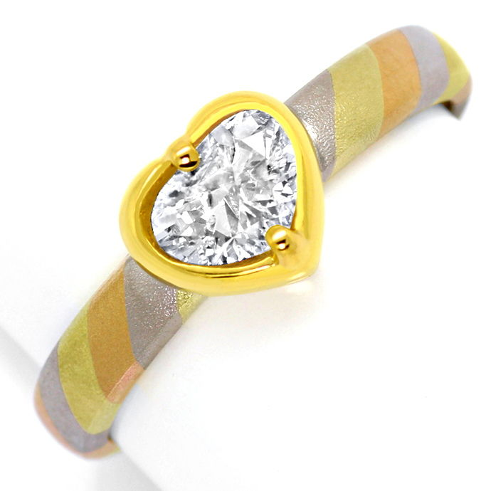 Designer Gold Ring 0,80ct Tropfen Diamant in Herz Zarge, Designer Ring