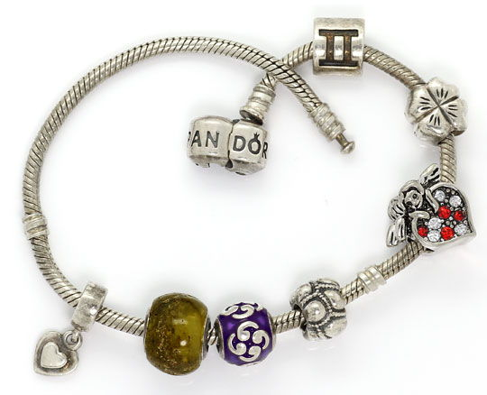 Foto 1, Silber Pandora Armband 925 Sterling Silber mit 7 Charms, R5520