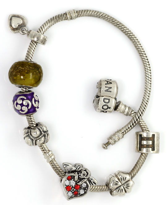 Foto 4, Silber Pandora Armband 925 Sterling Silber mit 7 Charms, R5520